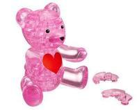 J0902 -3D Crystal Bear Puzzle IQ Furnish Gadget Jigsaw Pink
