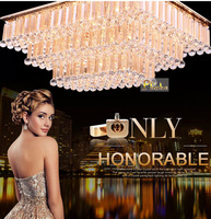 Crystal Chandelier Light Fixture Rectangle Shape ( S Gold) With Led light Source  Guaranteed 100%+Free shipping!