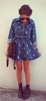 Spring 2014  Summer Women Jeans Dress Retro Street Cross Eiffel Tower Printed Long Sleeved High Waist Denim Dress