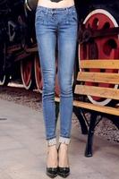 Women Edgy Cuffed Skintight Jeans Mid Waist Women's Pants Cheap Price