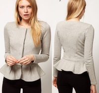 New Spring & Autumn Women Coat O-Neck Long Sleeve Ruffles Bottom Fashion Jackets Casual Slim Coats Big Yards Women Tops 110346