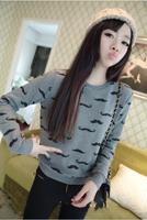Korean 2014 new women's winter fleece sweater casual round neck sweater hedging female sweatshirt AY851908