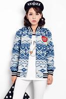 Model real shot 2014 Spring and autumn Korean women's coat casual loose was thin big lips denim baseball uniform female