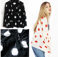 casual cardigans tricotado knitted sweater long warm sweater with neck women intarisa retro dot open cardigan poncho black white