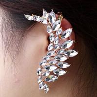 Fashion New Luxury Punk Jewelry Rose Gold Flower Rhinestone Earring Ear Cuff Women Crystal Clip Earrings Free Shipping