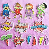 95PCS/LOT.Mixed design superhero adhesivee foam stickers,Birthday gift,Wall stickers Decorative stickers,Kindergarten handicraft