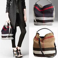 New Arrival 2014  Genuine Leather women's totes handbags,Classic Canvas women shoulder bags plaid canvas bucket bags