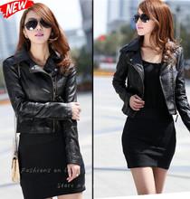 2014 Brasão New Mulheres inverno jaqueta curta de couro da motocicleta Zipper PU roupas de couro Suede Casual Turn Down Collar S- XXXL(China (Mainland))