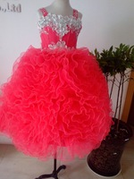 red  actual image PAGEANT TULLE FLOWER GIRL DRESS  12-18M 2 3T 4 5T 6 8 10