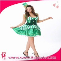 New Women Sexy Costume Green Beer Girl Maid Fancy Dress Oktoberfest Promotional Uniforms Halloween Costume Free Shipping m4885