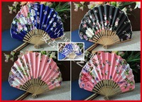 Free Shipping 30pcs/lot assorted colors & flower designs seashell shape bamboo satin fabric folding fan