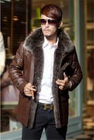 Free shipping  Free shipping 2014 The fox fur  Collar  Men's sheep-skin leather jacket 1360