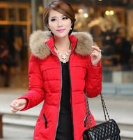 2014 Faux fur lining women's fur detachable collar Hoodies coats winter down long jacket cotton thermal parkas Free Shipping