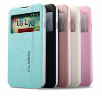 Original Cool Kalai.deng iceland II Silk Flip Leather Case Stand Window Cover For LG Optimus L70 D325 Free shipping