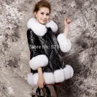 2014 leather clothing genuine leather down coat super large fox fur female medium-long slim fur coat by DHL