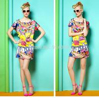 2014  New  Dress Fashion Printing and Batwing Short Sleeve Chiffon Zipper Dress Casual Dress Party Design S/M/L Size