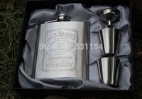 Jack Daniels Hip Flask 7oz set Portable Stainless Steel Flagon Wine Bottle Gift Box Pocket Flask Russian Flagon,Embossed Images
