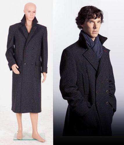 Sherlock Holmes Men Long Cape Wool Coat Cosplay Costume Jacket OverCoat