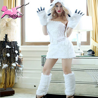 animal costumes Deluxe Pure White Plush Lovely bear cosplay For Halloween Party Sexy Strapless role-playing clothing XDW018