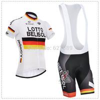 lotto 2014 Cycling Jersey bib kit Short Sleeve bib Shorts ropa Ciclismo bicycle Cycling thight fitness clothes Maillot MTB