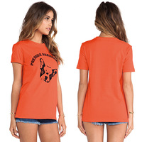 Women Cotton Orange Color T-shirt Chihuahua Avatar Printed Round Collar Short Sleeve Cute Fresh Casual Fashion Tops D536