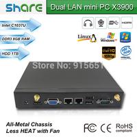 intel 1037U mini itx windows 7 pre-installed micro pc,8GB RAM 500GB HDD,built-in dual LAN ports,very fast operating speed
