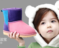 Free shipping! High quality 2014 children Plush warm color snow boots,All the cashmere,Suede leather waterproof,safty of slip