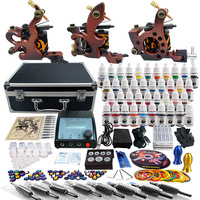 New 2 Pro Machine Guns Tattoo Kit  40 Inks Power Supply Needle Grips TK351 Free Shipping by DHL
