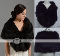 17002 In Stock  wedding bridal wraps and shawls wedding accessories 2014 Black Faux fur bolero women 2014 New Arrival