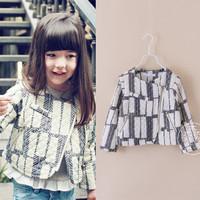 3A-8A popular star Europe brand Children outerwear for girls coat black lattice baby girl kids zipper jackets outerwear