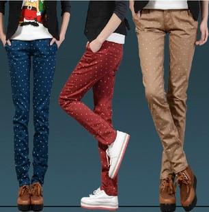 2014 primavera e verão calças harem pants cor wild polka dot slim fino calças cintura curling(China (Mainland))