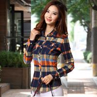 Women long-sleeved blouse shirt 2014  winter new Korean Slim lapel shirt polo shirt long sleeve women top checkered shirt