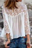 White Chiffon Blouse Women Chiffon Casual Crochet Transparent Long Knit Sleeve Round Collar Sexy Trendy Shirt in Hot Sale Y412