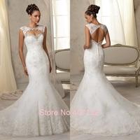 Newest Design Sexy White Lace Bridal Dress Floor-Length Elegant 2015 Mermaid Wedding Dresses with Removeable Jacklet Bolero