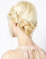 High Quality Full Rhinestone Flower 3 Layer Chain Tassel Hair Comb For Women Free Shipping