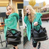Korean Fashion Women Handbags PU Leather Rivet Tassel Shoulder Crossbody Bags Black bolsas femininas 2014
