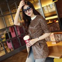 2014 spring/autumn women's leopard print OL clothing genuine sheepskin leather jacket female medium-long fifth sleeve outerwear