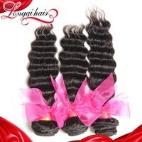LQ Beauty Hair Mixed Length 3pcs/lot 6A Peruvian Virgin Hair Extension Peruvian Deep Wave Human Hair Weave Machine Weft