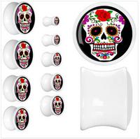 Hot sold 1 Pair resin fashion skeleton ear plugs piercing body jewelry EK173