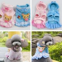 (Pink&Blue)Cute Bear Trim Animal Style Costume For Pet Autumn Winter Pet Apparel Soft Coral Fleece Pet Dog Clothes Promotion
