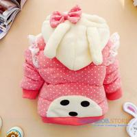 2014 new winter baby girl coat kids cartoon Rabbit lace cotton-padded outerwear children polka thicken warm hooded jacket