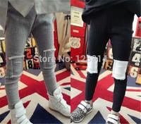 Free Shipping Children's Clothing 2014 New Autumn Winter Korean Girls Pants Patch Leggings Pants Feet Pencil Pants