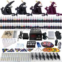New 4 Pro Machine Guns Tattoo Kit  54 Inks Power Supply Needle Grips TK457 Free Shipping by DHL