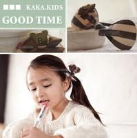 Wholesale children classic plaid printed rabbit bunny ear hair holder hair band