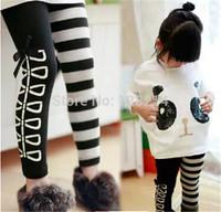 Free Shipping 2014 Autumn Winter Korean Children's Clothing Girls Pants Striped Leggings Girls Casual Long Pants Pencil Pants