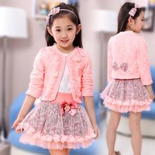 new fashion spring autumn kids girls korean clothes princess floral cardigan 100% cotton bottoming shirt 3 pcs lace clothing set(China (Mainland))
