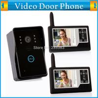 3.5 Wireless Video Door Phone Doorbell Intercom System IR Camera 1-camera 2-monitor Surveillance Unlock Hands-free Call and Talk
