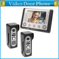 7 Inch Color TFT LCD Home Security Video Door Phone Intercom Kit 2 Cameras 1 Monitor Handfree Night Vision Electric Lock-control