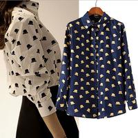 Hot sale 2014 Autumn Women Blouses Fahion Hat Print Long Sleeve Loose Women tops Chiffon Shirt Blouse Blusas Femininas S M L