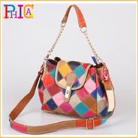 K3 Chic 100% Cowhide Genuine Leather Satchel Bag New Fashion Plaid Patchwork Shoulder Messenger Bags Chain Purse